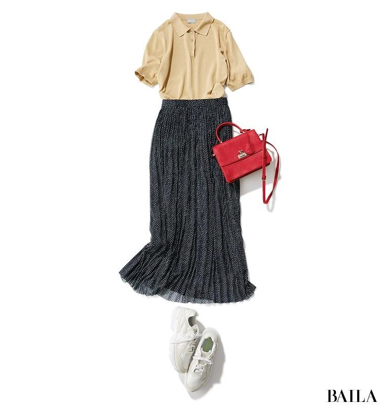 【着回し3】プリーツスカートでカジュアルコーデにひとさしの女らしさ