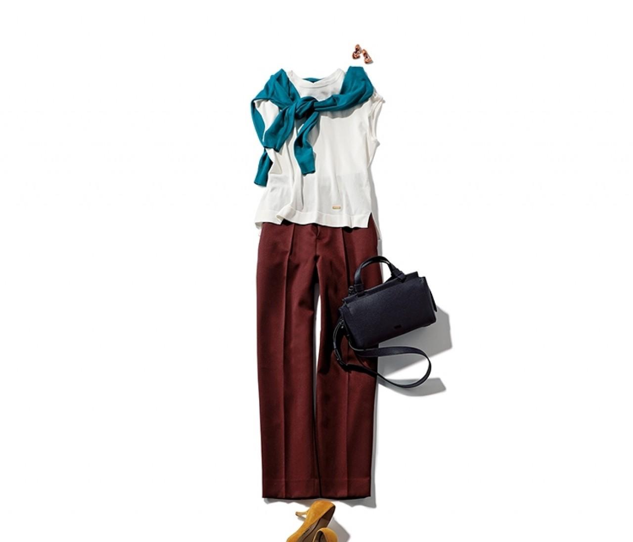 気分よく通勤したい日は、ブラウンパンツコーデに差し色カーデをプラスして!【2019/8/20のコーデ】
