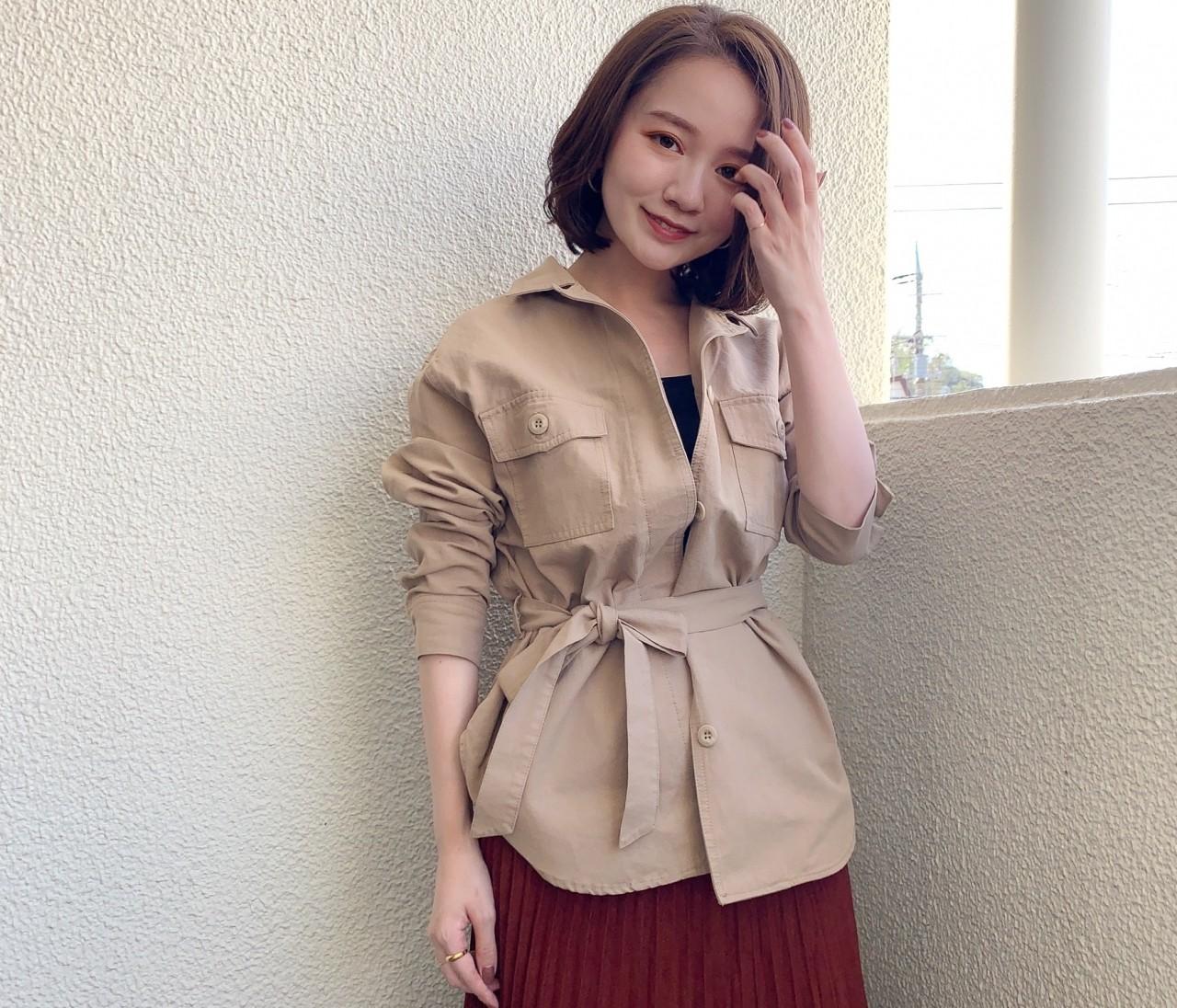 【150cmコーデ】秋のトレンド「シャツジャケット」であか抜けフェミニンコーデ