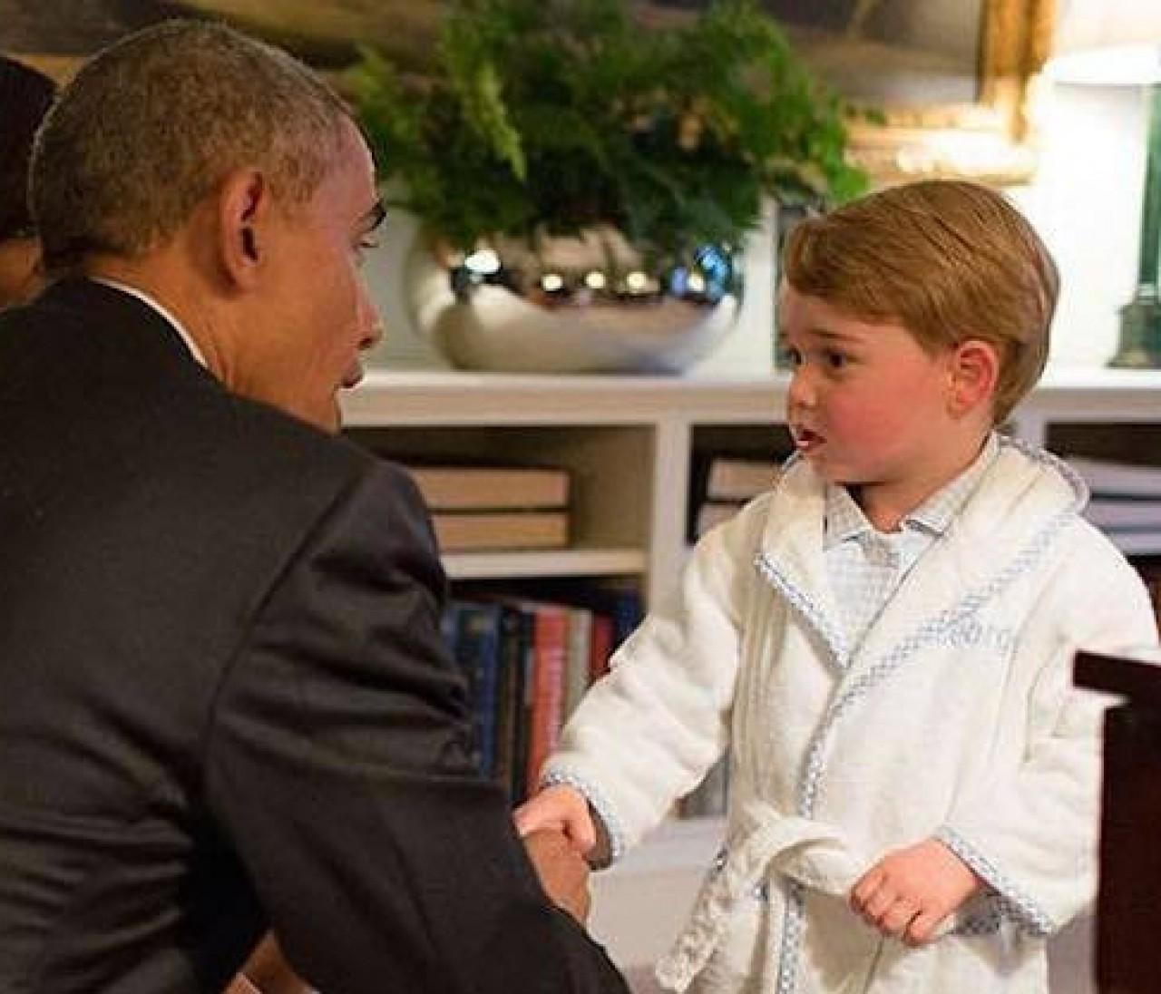「ボスみたい」な貫禄。英ジョージ王子、オバマ大統領に会う