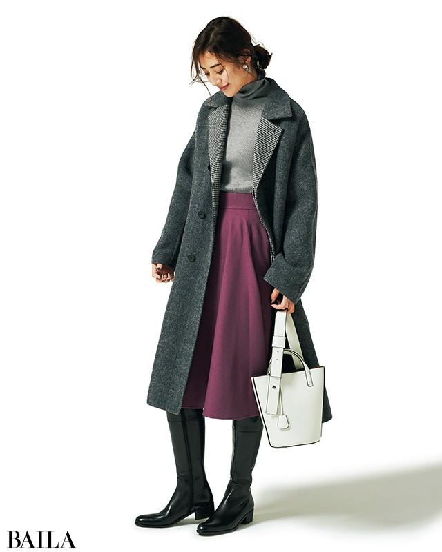 30代向け【ロングブーツ】2018-19秋冬最新コーデ(乗馬ブーツ×パープルロングスカート)