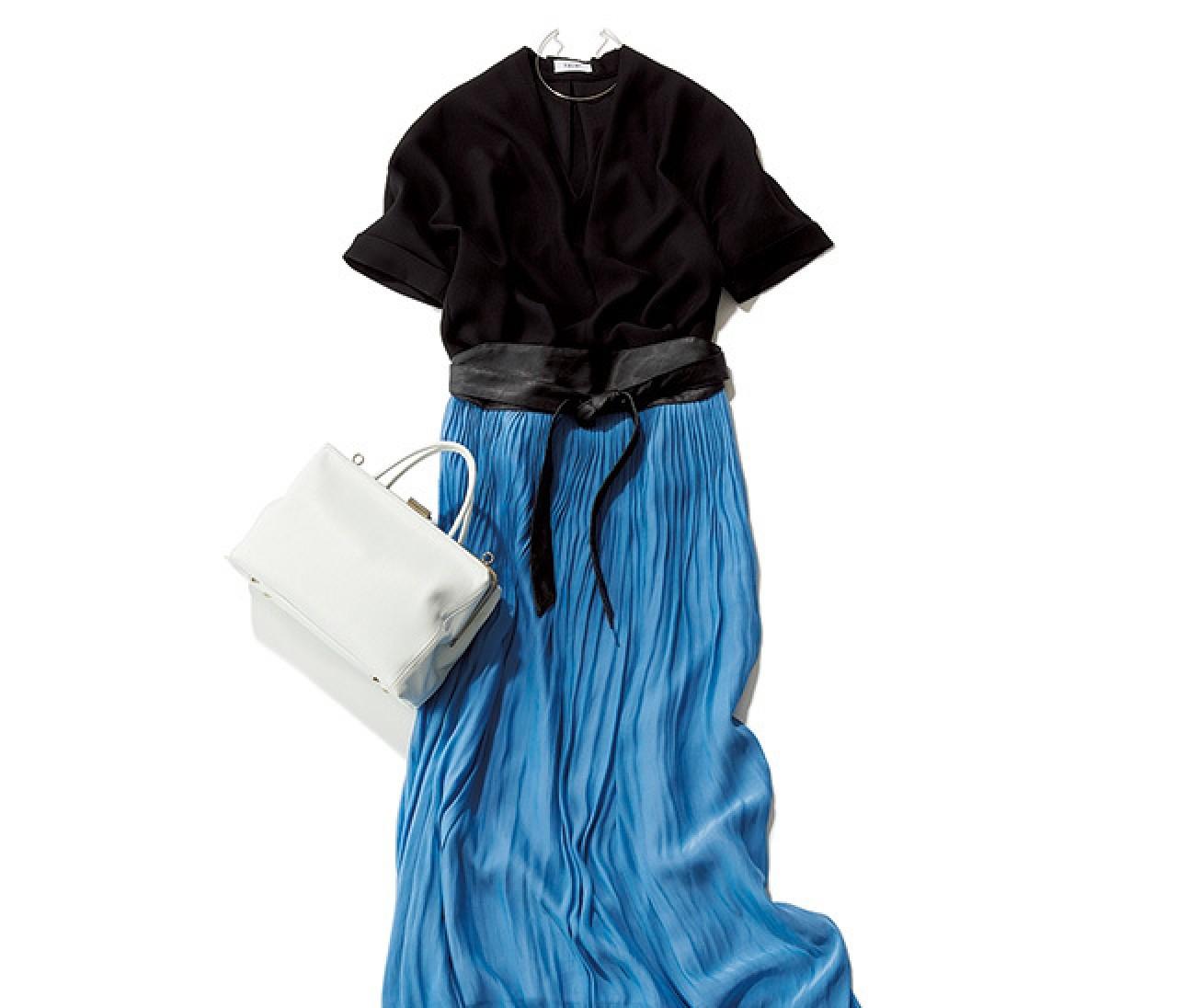 旬小物が鍵! アフター6に予定がある夏の日は、ブルースカートでプチドレスアップ