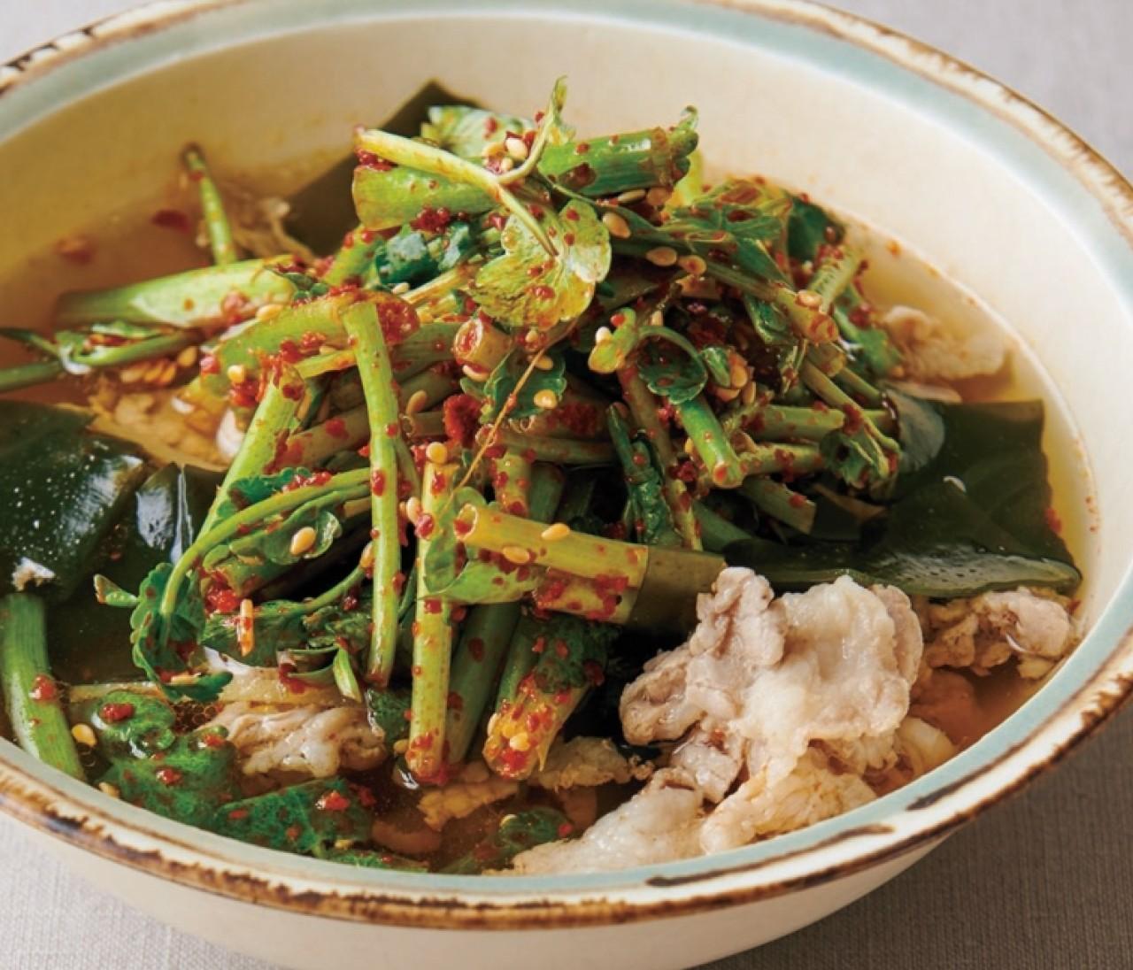 【温野菜レシピ】体を温めて免疫力アップ「セリのナムル風スープ」