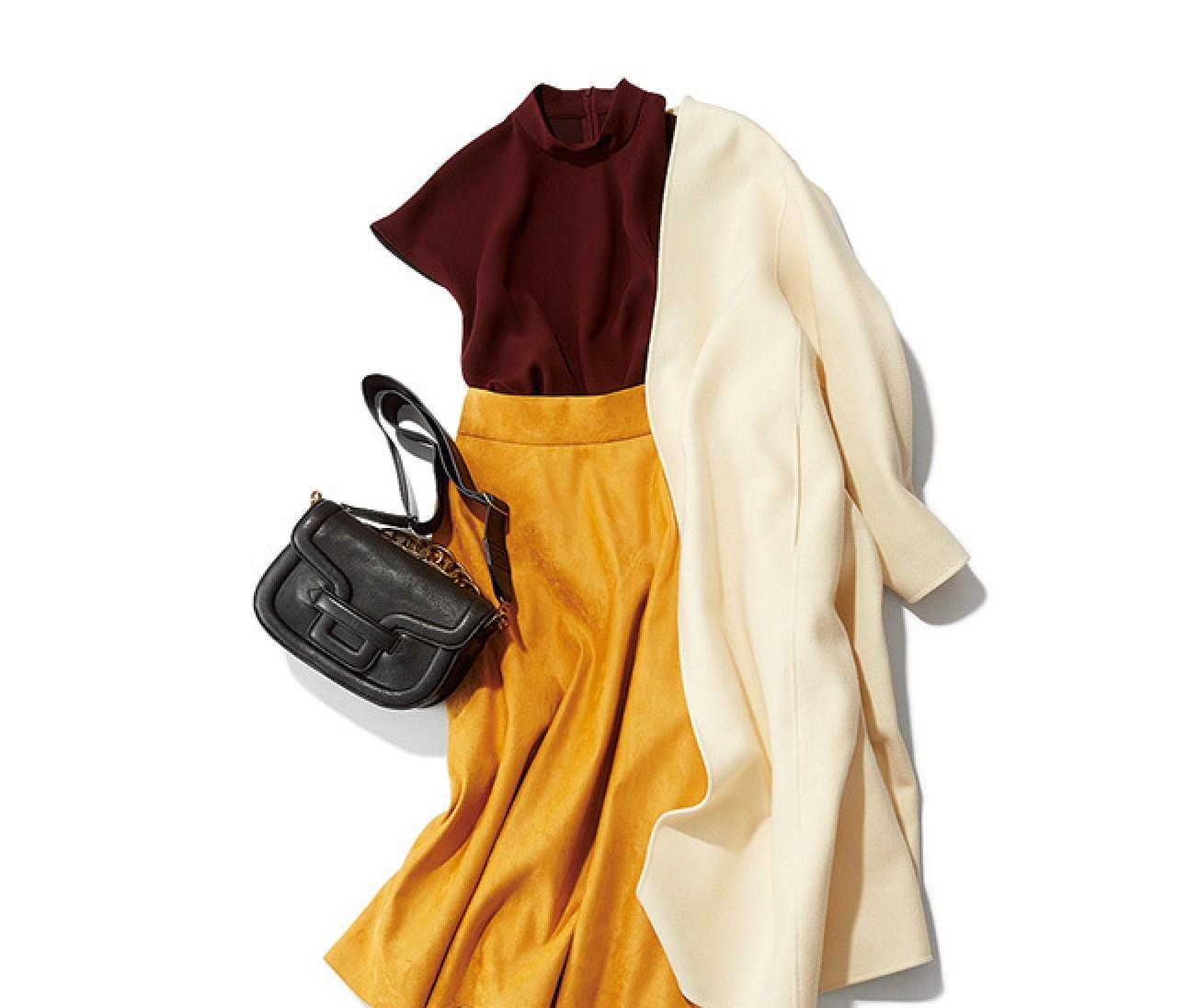 鮮度の高いカラー×カラースタイルは、ホワイトコートでさらにあか抜け!