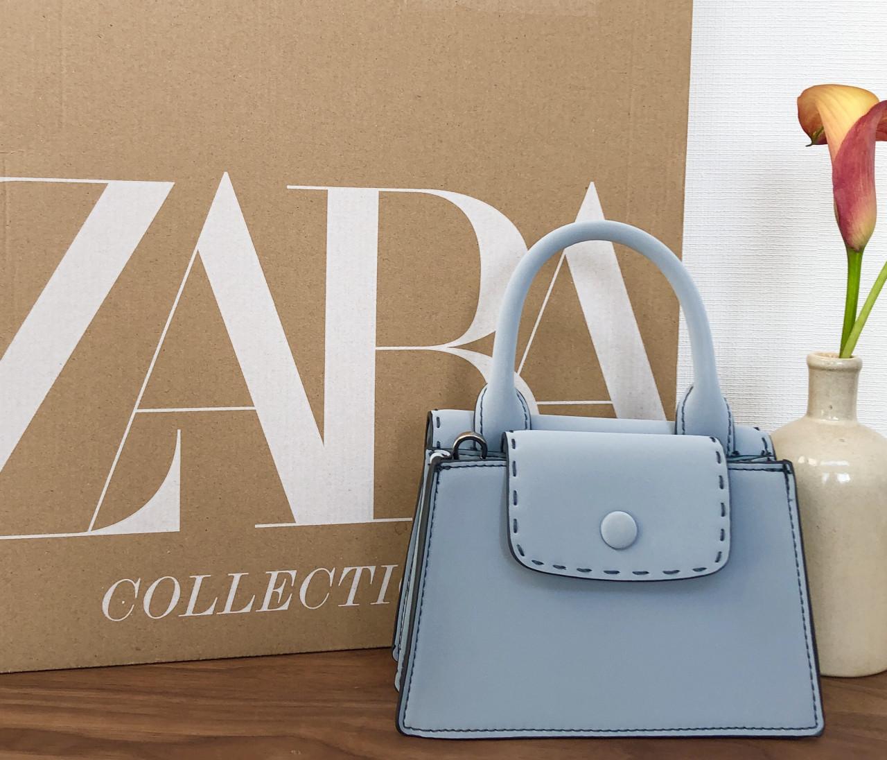 【ZARA(ザラ)】の購入品! ¥3990の春めきブルーバッグはアラサーのきれいめスタイルにぴったり!【身長150cmエディターchiakiの30代おしゃれTIPS】