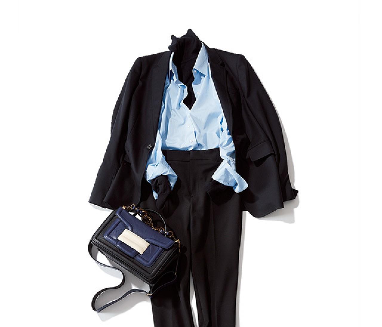 ニット×シャツで、おしゃれ&まじめな黒スタイルで通勤!