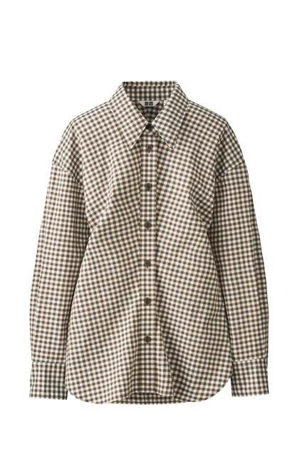 ストレッチシャツ(チェック、長袖)