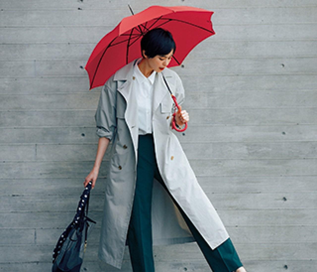 雨の日も安心な【高機能きれいめパンツ】なら水跳ねだって気にならない!