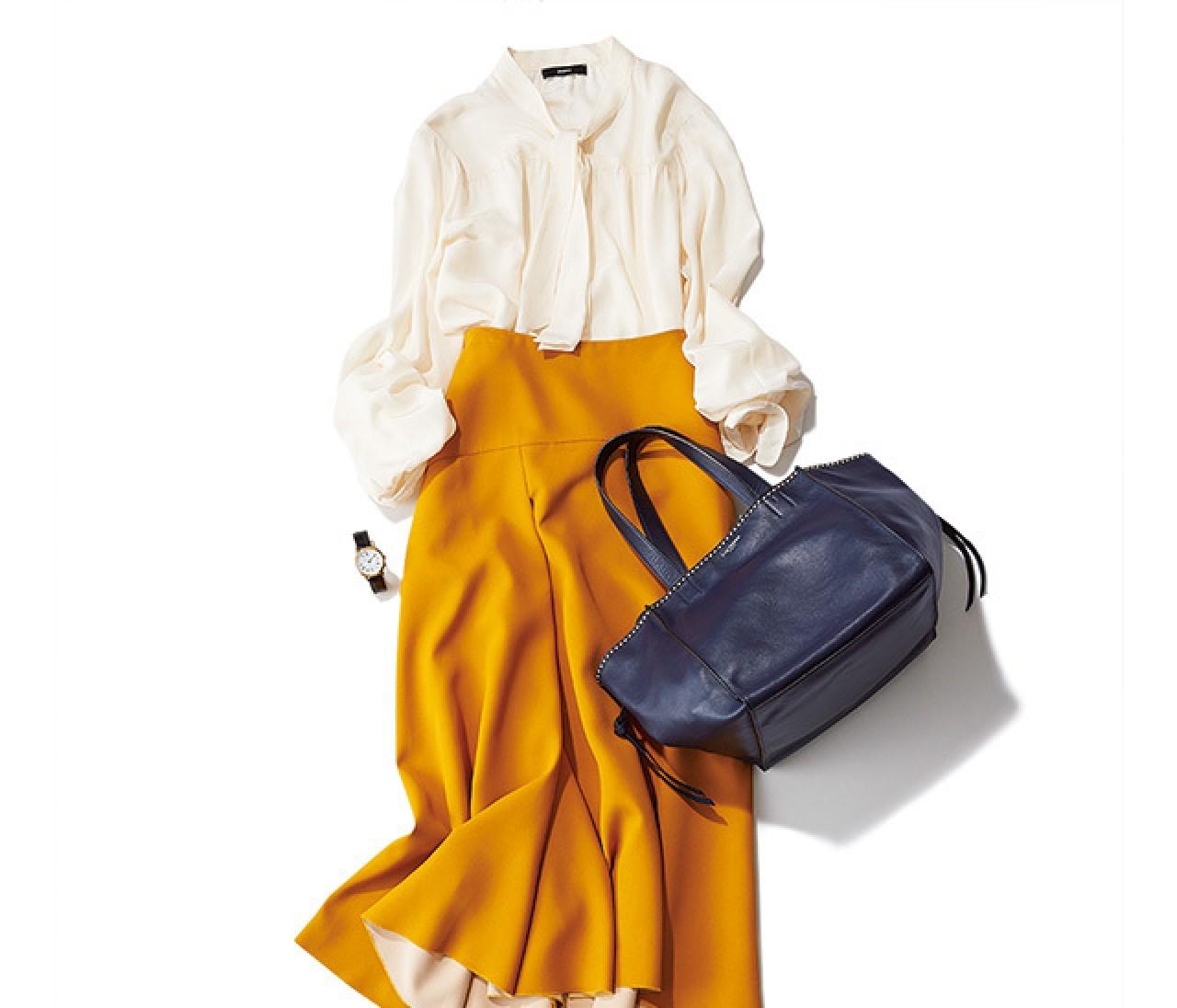 華やかさも◎! 秋色スカート&チャンキーヒールで360度きれいに♪