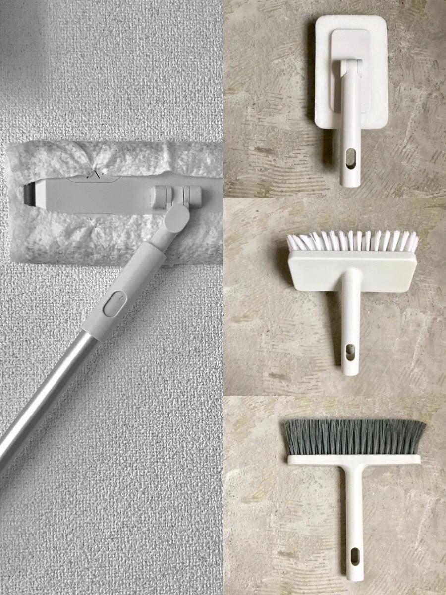無印良品のお掃除システムユニット(ポール、スポンジ、デッキブラシ、ほうき)