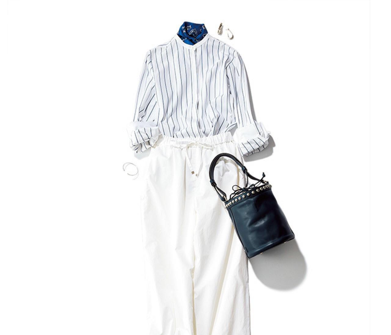 涼しげで大人っぽい♡ ストライプ&ホワイトの女っぽパンツスタイル♡【2018/6/2のコーデ】