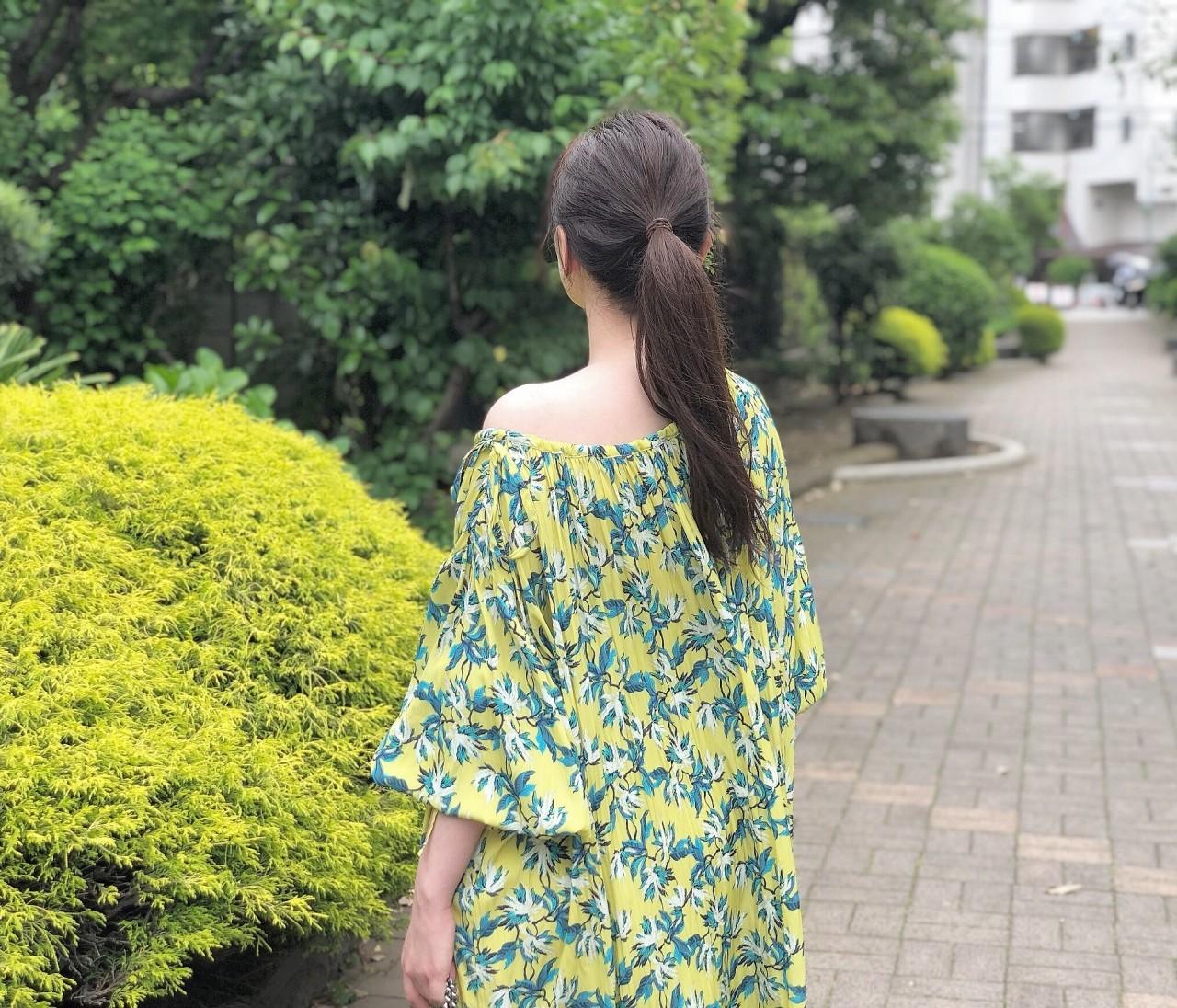 BAILA6月号を参考に♡柄ワンピース×フラットシューズコーデ