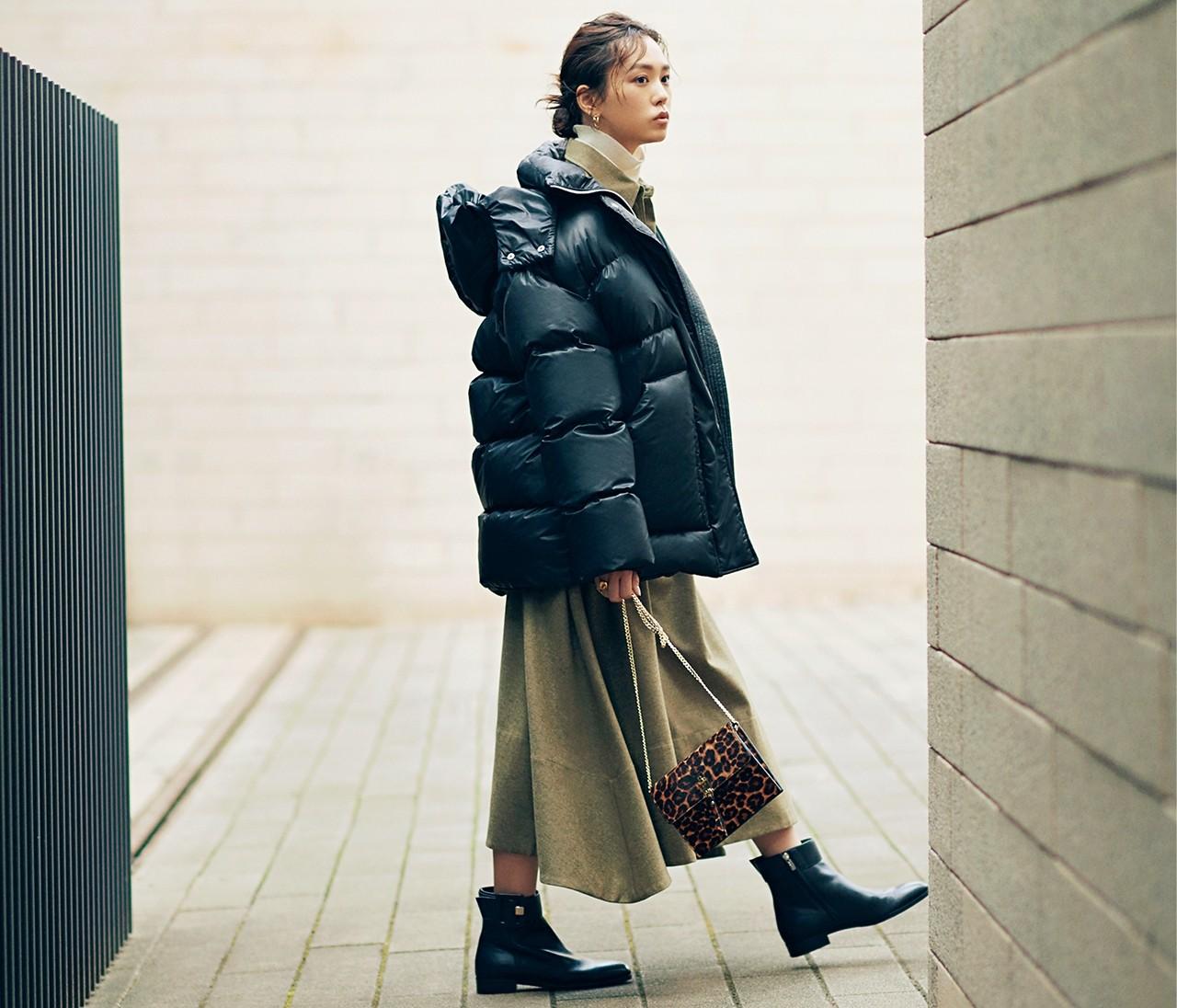 桐谷美玲が女らしく着こなす「ダウンジャケット」