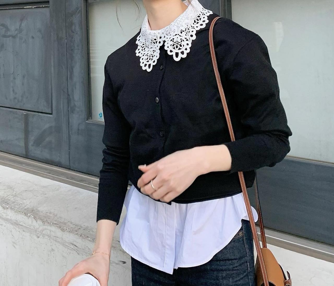 【春服】UNIQLOカーデで襟ブラウスコーデ♡
