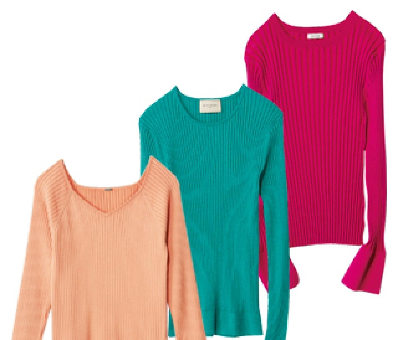 明るい春カラーではつらつとした印象に【きれい色リブニット】4選