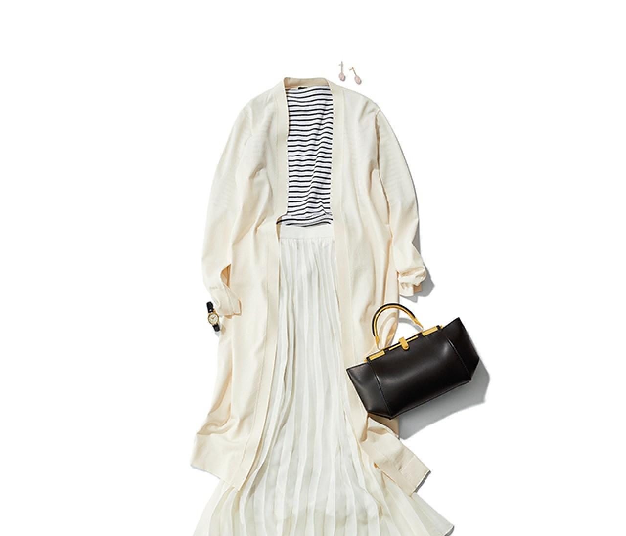金曜日の通勤は、好感度ボーダーを加えたクリーンなスカートスタイル♡【2019/4/19のコーデ】