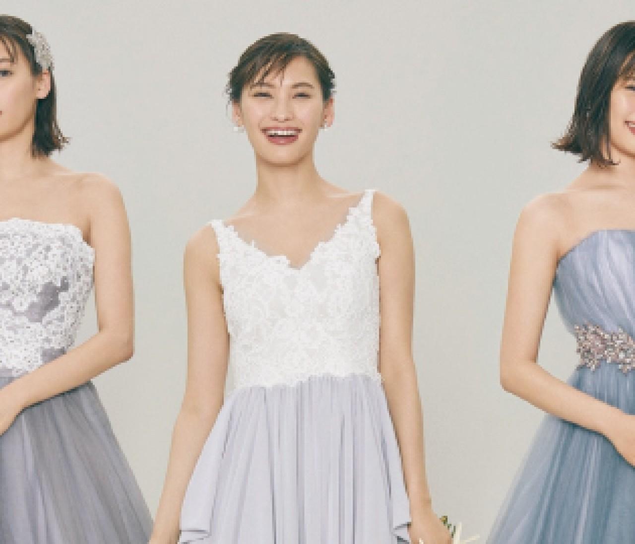 洗練されたしゃれ感グレーのウェディングドレス【10年先も美しいニュアンスカラードレス④】