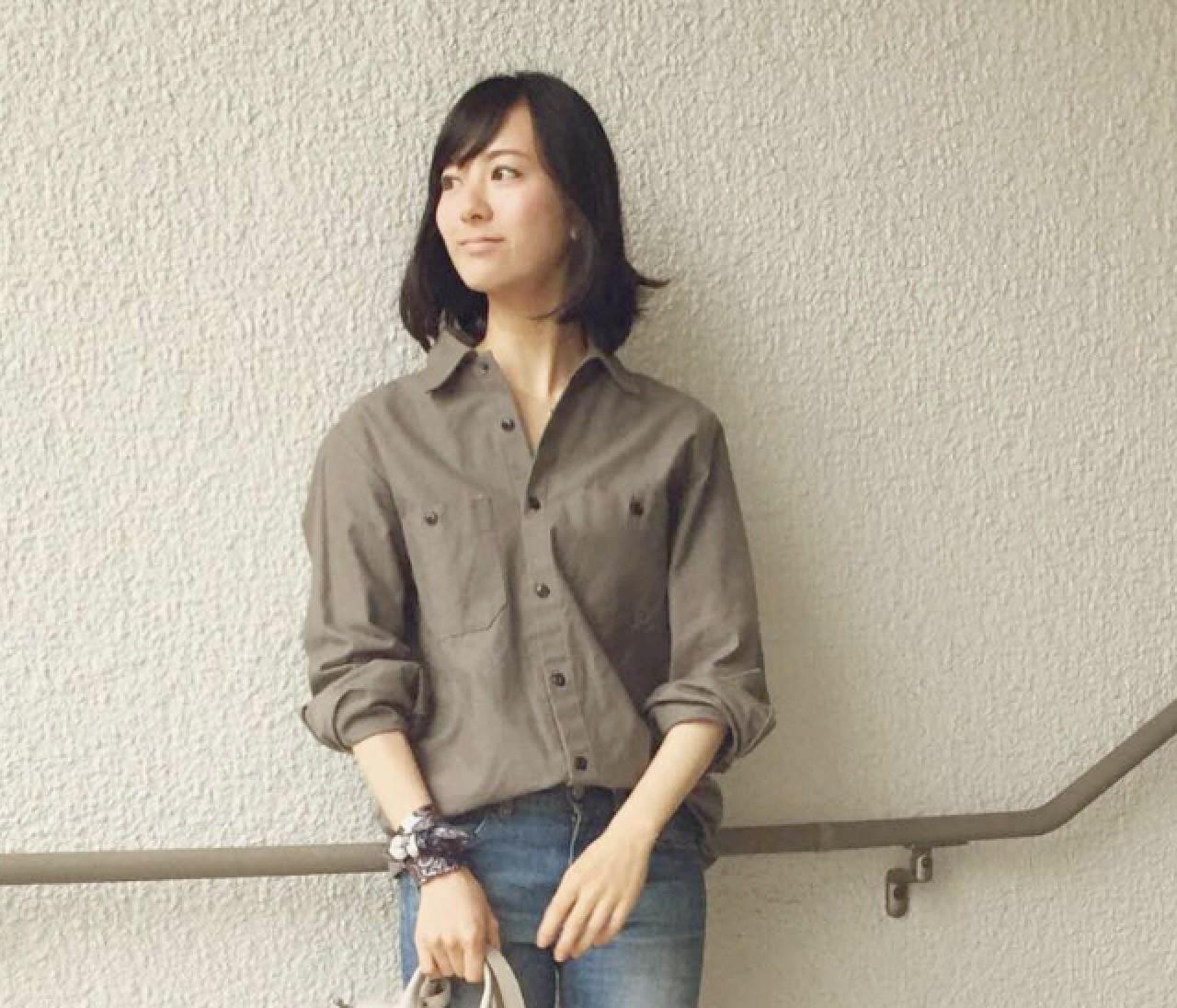 【スナップ】女っぽさMAX♥︎ ゆる感ビッグなサファリシャツ