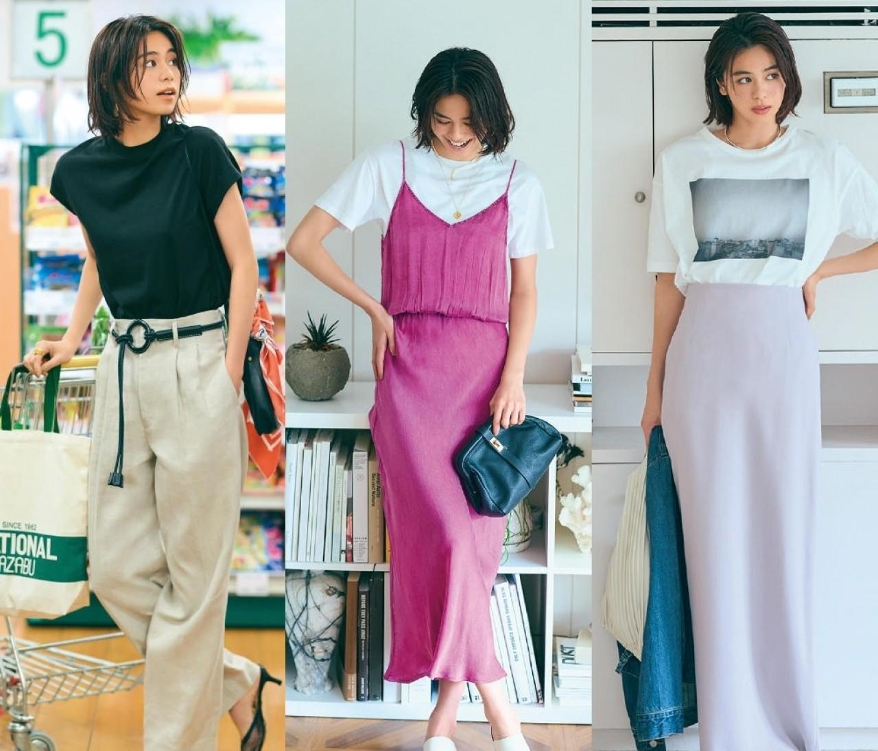 【大人のTシャツコーデ20選】白T・黒T・フォトTで今っぽく、女っぽく!
