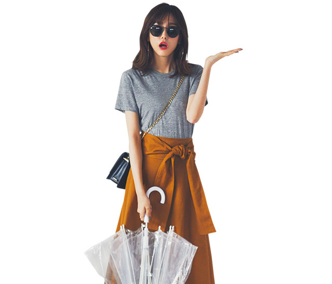 雨の日もOK♡ Tシャツ×長めスカートで、好感度コーデ!【2018/6/14のコーデ】