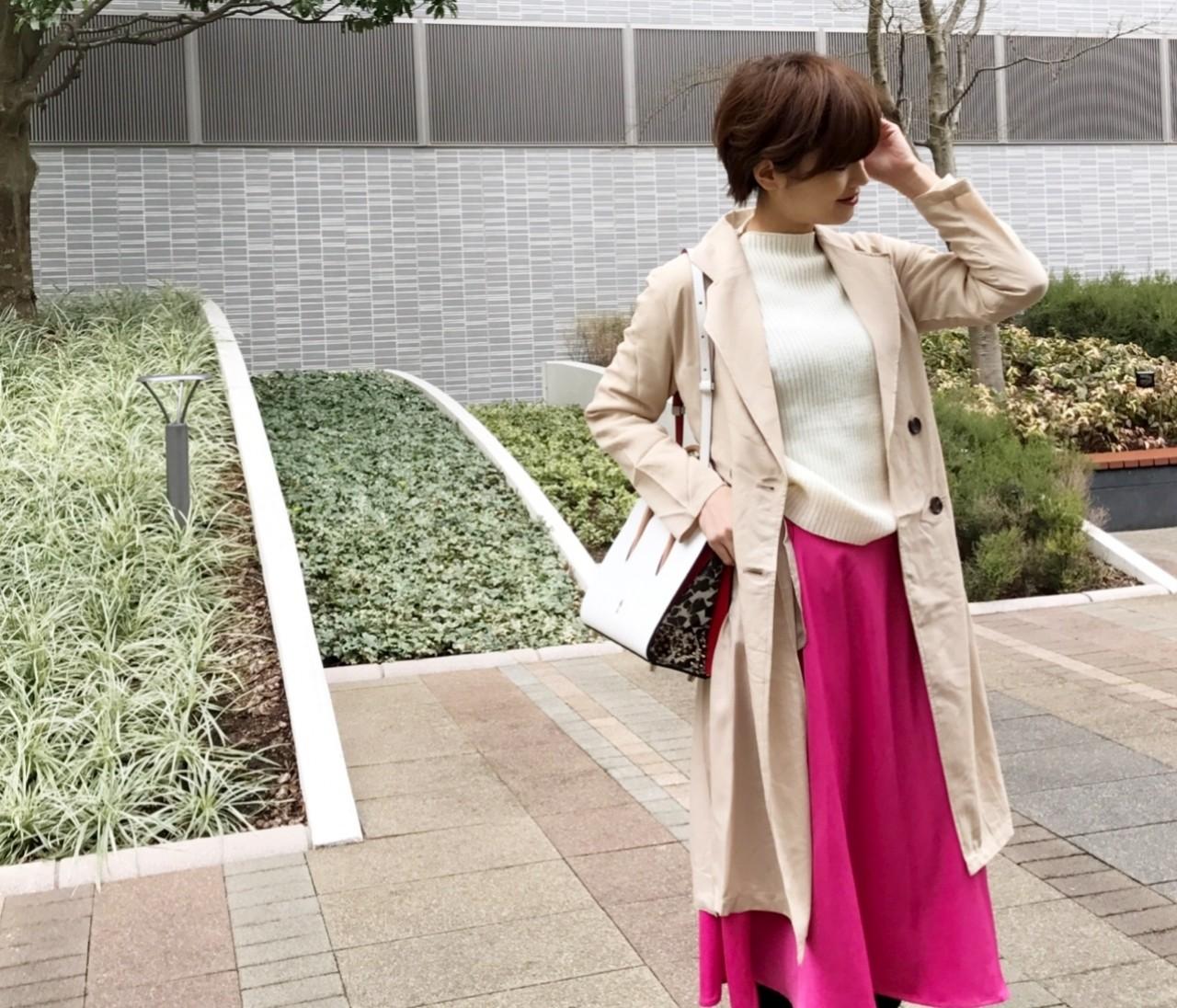 今年初のトレンチコート♪ピンクスカートと合わせて更に春気分(^^)♪