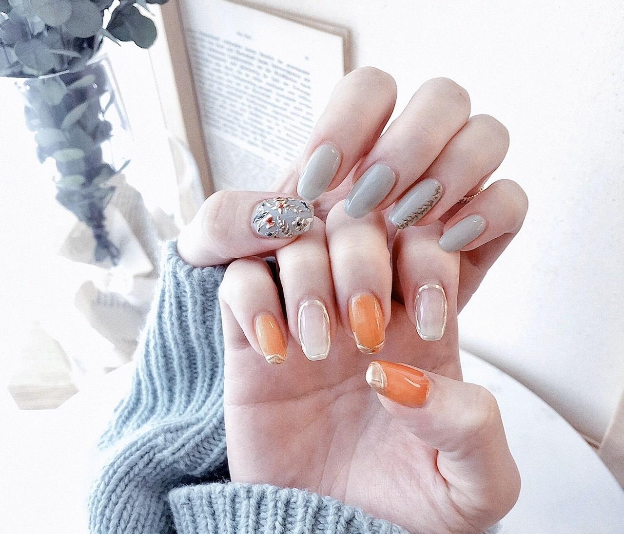 【春ネイル】上品ミント×オレンジの指先で春を先取り♡