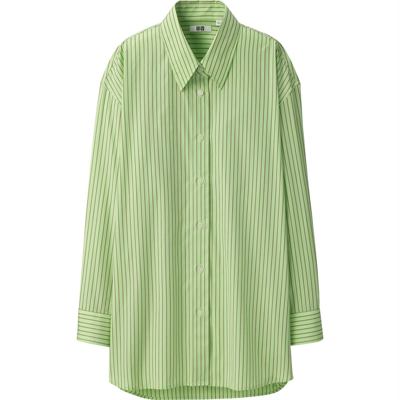 コットンオーバーサイズストライプシャツ(長袖)¥2990/ユニクロ(ユニクロ ユー