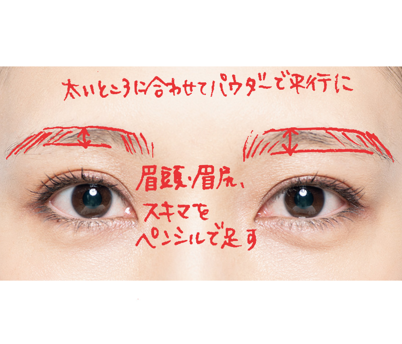 【30代のためのネオ美人眉Q&A5】細眉、アーチ眉、左右の高さが違う眉…お悩み別・美人眉の描き方が、目からウロコのわかりやすさ。