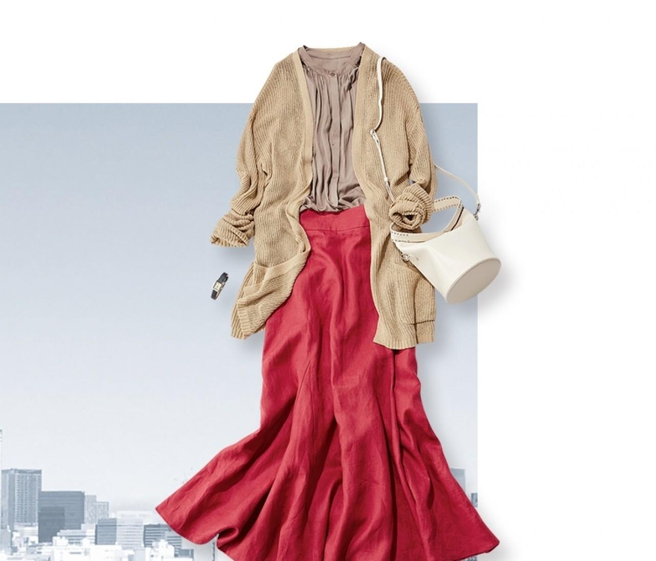 【今日のコーデ】月曜日は、ビビッドカラーで鮮度を上げた大人の華スカートコーデ