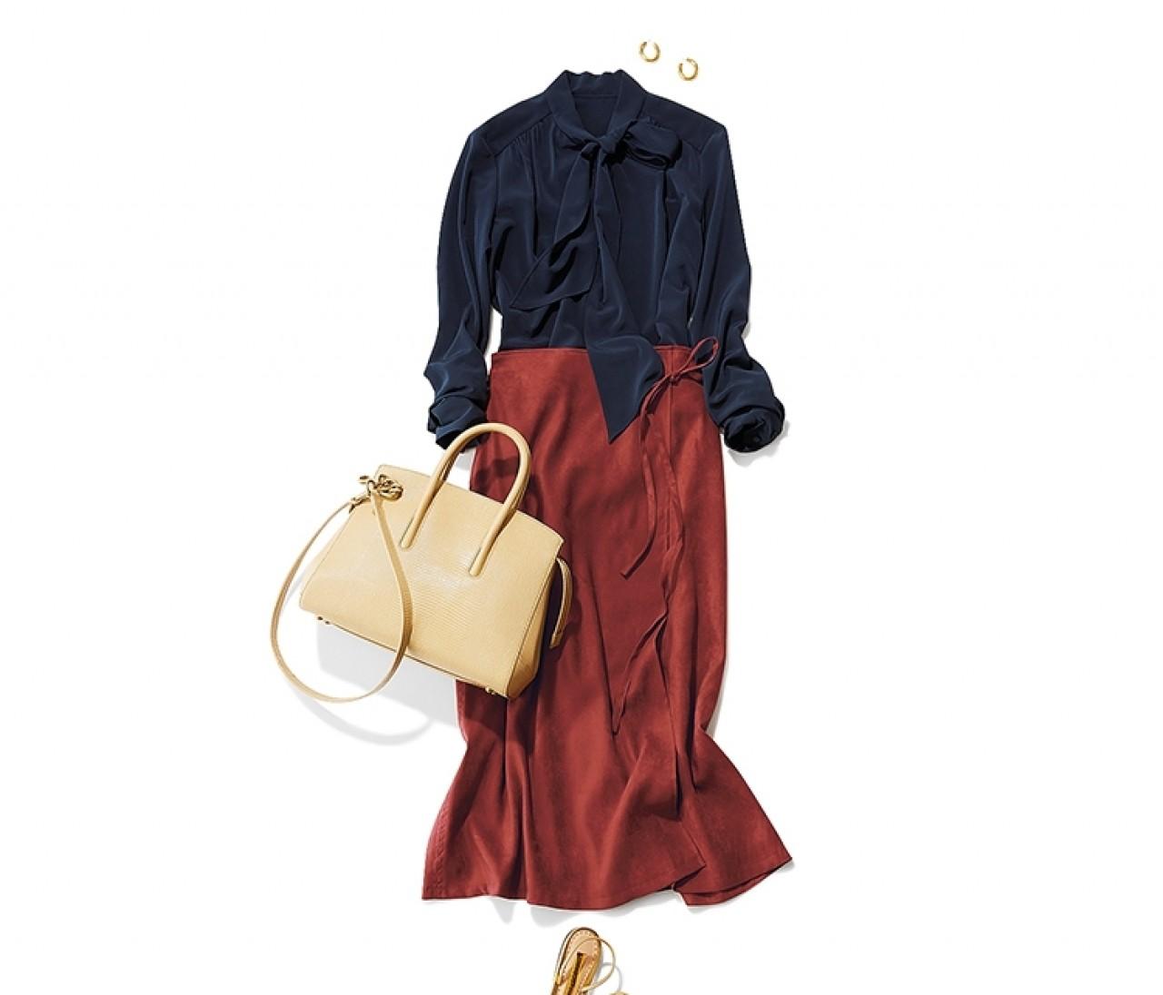 祖母と銀座にお出かけする日は、エレガントなボウタイブラウス×秋色スカートスタイル【2019/9/14のコーデ】